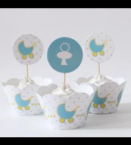 12 Conj. Cupcakes Baby Boy