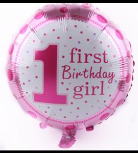 Balão Redondo 1 Ano Menina