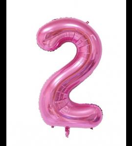 Balão número 2 Rosa Brilhante