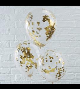 Balão Transparente Confetes Douradas