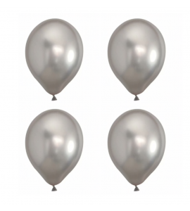Conj. 4 Balões Látex Cor Metálica-Prateado