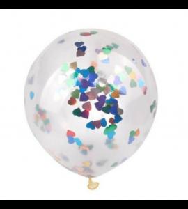 Balão Transparente Confetis Corações