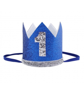 Coroa 1º Aniversário Azul Escura