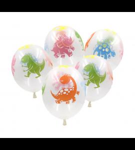 10 Balões Transparentes Dinossauros
