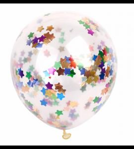 Balão Transparente Confetis Estrelas Coloridas