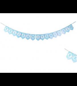 Faixa Feliz Aniversário - Azul Bolinhas
