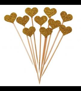 10 Sticks Corações Dourados