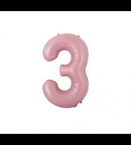 Balão número 3 Rosa Claro Pequeno