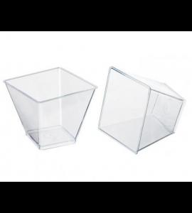 12 Taças Quadrada Transparente Grande