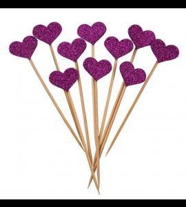 10 Sticks Corações Rosa