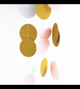 Faixa Bolas Rosa Dourado 5cmx2m