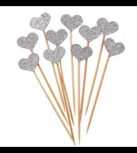 10 Sticks Corações Prata