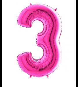 Balão número 3 Rosa Brilhante