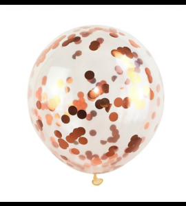 Balão Transparente Confetes Dourado Ferrugem