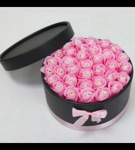 Caixa Preta com Rosas 20x11-rosa