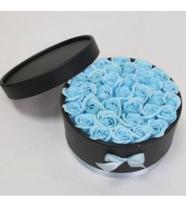 Caixa Preta com Rosas 20x11-azul