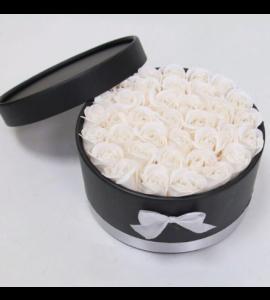 Caixa Preta com Rosas 20x11-branco