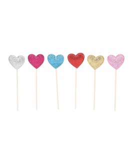 6 Sticks Coração Colorido 3D