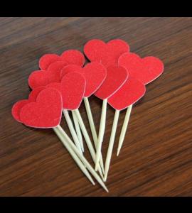 10 Palitos Corações-vermelho