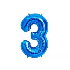 Balão número 3 Azul Brilhante
