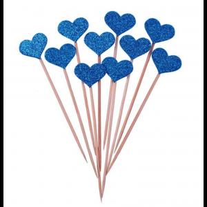 10 Sticks Corações Azuis