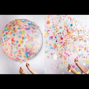 Balão Gigante Transparente Com Confetes Coloridas