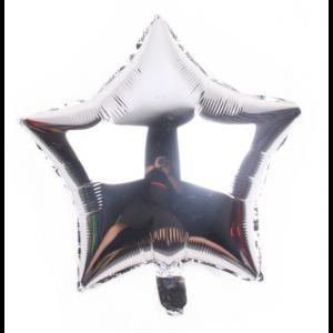 Balão Estrela-45 cm / 18inch-prata/cinza