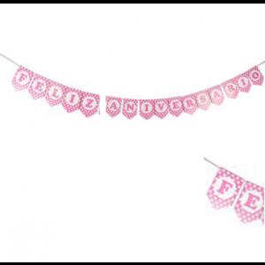 Faixa Feliz Aniversário Rosa Bolinhas
