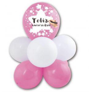 Arranjo de Balões Personalizável - Rosa