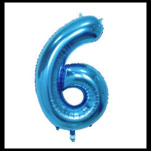 Balão número 6 Azul Brilhante