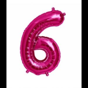 Balão número 6 Rosa Brilhante